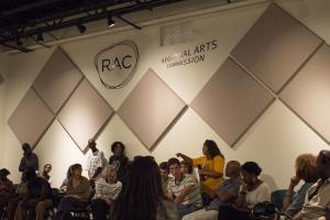 Artists Gather at RAC to Discuss Possible Actions. Credit Willis Arnold/St. Louis Public Radio
